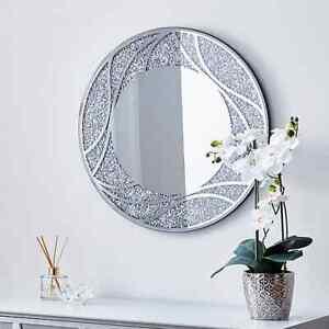 60cm Silk Screen Finish Circular Jewel Diamante Wall Mirror Crushed Crystals