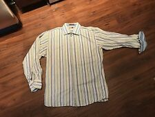 XL Green Blue White Yellow Stripe SETTE PONTI Button-Front Club shirt!