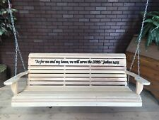 Cypress Wood Porch Swing With Hanging Hardware with engraving of your chose