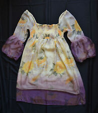 Floral silk dress with three-quarter length sleeves size M