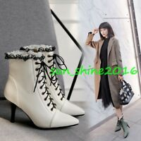 Women's Ankle Boots Pointed Toe Lace Up Pumps SHoes Fleece Lining Kitten Heel