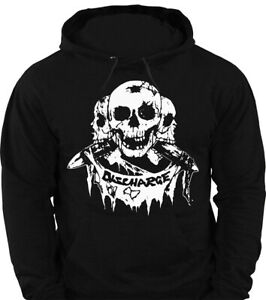 HOODIE DISCHARGE 3 SKULLS unisex Official Merch sweatshirt jumper punk rock