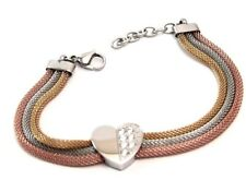 Tri color Mesh Heart Bracelet Rose Gold PVD Yellow Gold PVD Adjustable