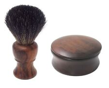 Wooden Shaving Mug and Badger Brush Soap Bowl with Lid Cover - FREE Shaving Soap