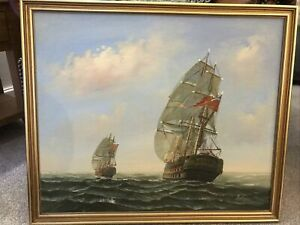 Original Ship Oil On Canvas Painting