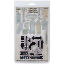 Tim Holtz Sizzix Framelits Die Set 12Pk W/ Stamps Here & There