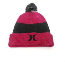 Hurley Youth Beanie Winter Cap Pom Pom Fuchsia Size 7/16 Cuffed Hat Girls