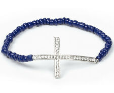 J'Adore Bijoux Cross Bead Bracelet Navy Blue with Silver Crystal Cross MSRP $55