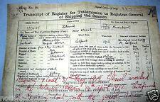 Titanic Trans script Document Ship Antique Ephemera Disaster Historic Liverpool