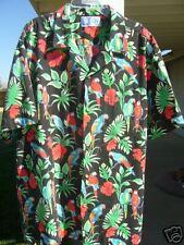 "VINTAGE ""RJC LTD"" BLACK & COLORFUL HAWAIIAN SHIRT  XL"