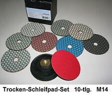 Diamant Trocken-Schleifpad Set 10-tlg. M14 Granit Naturstein Fliesen Schleifpads