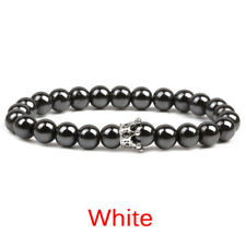 Magnetic Hematite Stone Bead Bracelet Therapy Health Care Crown Bracelet Bangle#