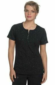 "Koi Scrubs #317L Zip  Crew-Neck Designer Scrub Top in ""Black Iridescent"" Size S"