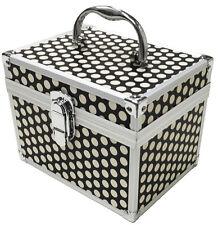 Black White Polka Dot Beauty Cosmetic Box Nail Make Up Vanity Salon Tech Case