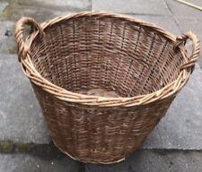 Large Vintage Strong Cane Log Basket/Storage with Handles