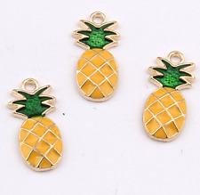 P1173 6pc Charms pineapple Pendant Beads Necklace Jewellery Making Enamel
