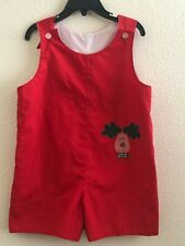 Vtg Homemade Boutique Red Lined Overalls Romper Quilted Reindeer Baby Toddler 2T