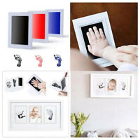 Baby Newborn Handprint Footprint Imprint Clean Touch Ink Pad Photo Frame Kit New