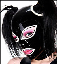 Latex Rubber Hood Mask Black and White Stylish Cosplay Masque Size XS-XXL