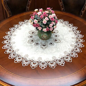 Round Tablecloth Lace Floral Table Cover Dustproof Home Festival Table Cloth