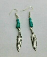 Blue Turquoise Drop Earrings  With  Feather