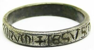 "13th century Medieval silver posy ring ""Jesus of Nazareth, King of the Jews"""