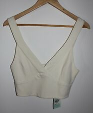 NEW Metalicus Womens ivory crop top bustier SIZE S-M RRP 89.95