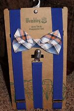 NEW men WEMBLEY 2-pc BOW TIE & SUSPENDER SET blue PLAID adjust PRE-TIED orange