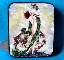 Russian LACQUER SHELL Box HAND PAINTED  'Femme au Papillon' Umberto Brunelleschi