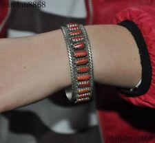 "3""Tibet Tibetan silver Filigree Inlay Red Coral Exorcism amulet bracelet Bangle"