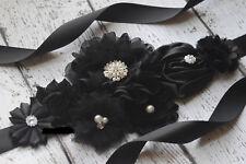 Black Sash, haloween sash, black flower Belt, maternity sash