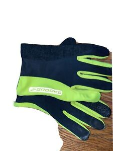 BROOKS Running Gloves REFLECTIVE LARGE Black & Neon Green W/Grip Magnetic Clasp