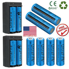 8x 18650 Battery 3.7V Powered Li-ion Rechargeable Batteries with 2x Chargers US
