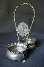 ANTIQUE PAIRPOINT SILVER PLATED SALT AND PEPPER SHAKER STAND