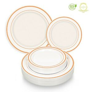 *On SALE* Elegant ROSE GOLD Plastic Disposable Dinner Dessert Plates 110 pcs