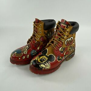 Timberland Boots 10661 Custom Hand Painted Marios World Mickey Mouse Size 7M