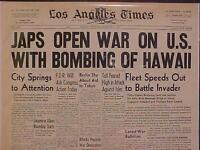 VINTAGE NEWSPAPER HEADLINE ~WORLD WAR 2 JAPAN PLANES BOMB HAWAII START WWII 1941