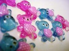 20 Baby Bear Pink & Blue Acrylic Flatback Button/Craft/Bead/Scrapbooking B113