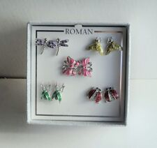 Roman Silver Earring Set 5 Insects Butterfly Ladybug Bee Grasshopper Flash Sale