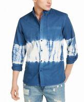 Sun + Stone Mens Shirt Blue Size Large L Tie-Dye Pocket Button Up $45 #314