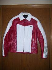 HEIN GERICKE HD Womens Leather Biker Jacket Motorcycle Jacket Sz 6 Red White !