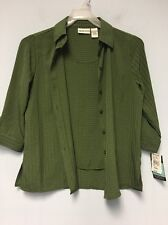 Apparenza Women's Blouse Shirt With Attached Shirt Inside, size S Green MSRP $32