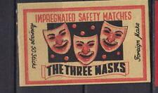 Ancienne étiquette allumettes Italie    Masque Carnaval