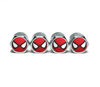 Spiderman Tire Valve Stem Caps - Chrome Surface - Set of Four