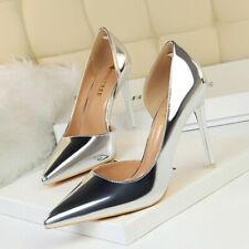 Women Patent Leather High Heels Pumps Pointed Toe Stiletto Party Nightclub Shoes
