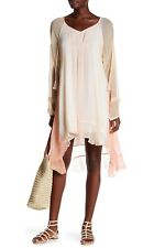 NWT Gypsy 05 Asal in Blush Tie Dye Chiffon Tie Neck Raglan Mini Dress S $168