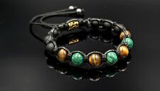 Men's Tiger's Eye Onyx Malachite Beaded Gemstone Shamballa Macrame Bracelet