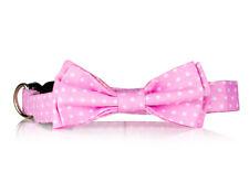 Pink Polka Dot Bow Tie Dog Collar-  Stylish Custom Dog Collar (Bow Tie Collar)