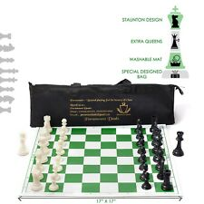 Tournament Staunton Roll On Vinyl Chess Set with Extra Queens and Chess Bag