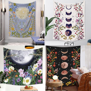 Moon Tapestry Psychedelic Flower Wall Hanging Starry Sky Moon Phase Tapestries